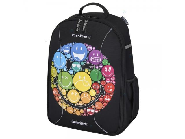 Rucksack Be.Bag Smiley Herlitz 48x32x18 EVA-Material großes Fach schwarz  Schule Arbeit