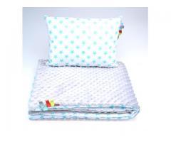 Babybettwäsche Kinderset Bettenset Minky Kissen Decke zweiseitig für Allergiker Sterne
