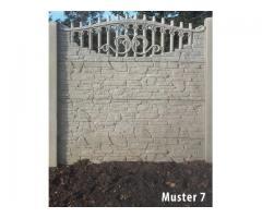 Betonzaun Betonpfosten Zaun Set glatter Pfosten + 4x Betonplatte viele Modelle