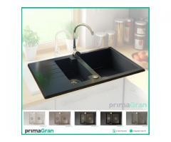 Granitspüle NEW YORK mit automatischer Siphon, 75x47.5 Spüle 35 Jahre Garantie Küchengerät
