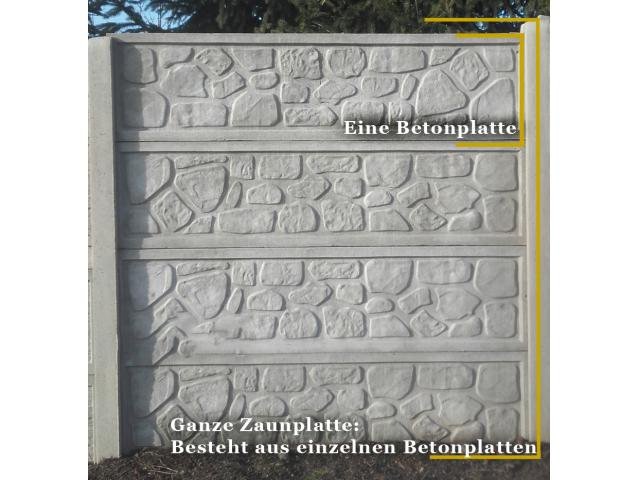 1x Betonplatte Betonzaunteil Beton Platte aus Beton