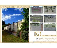 Gartenzaun und Zaunelemente aus Beton -- Preis auf Anfrage